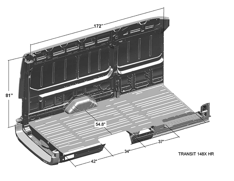 Ford-Transit-Interior-Cargo-Dimensions-(Extended-Length-148WB,-High-Roof)