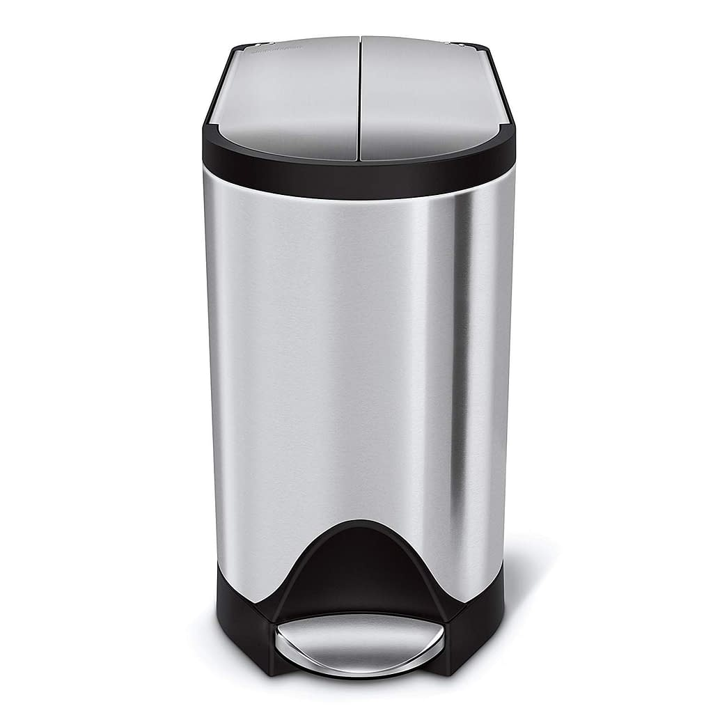 SimpleHuman 2-6 Gallon Trash Can Butterfly Lid Iso View