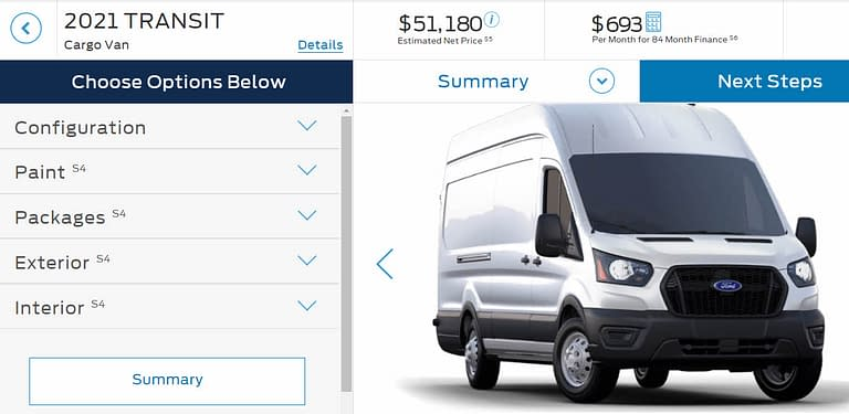 Ford Transit Build and Price Customize Build Your Van