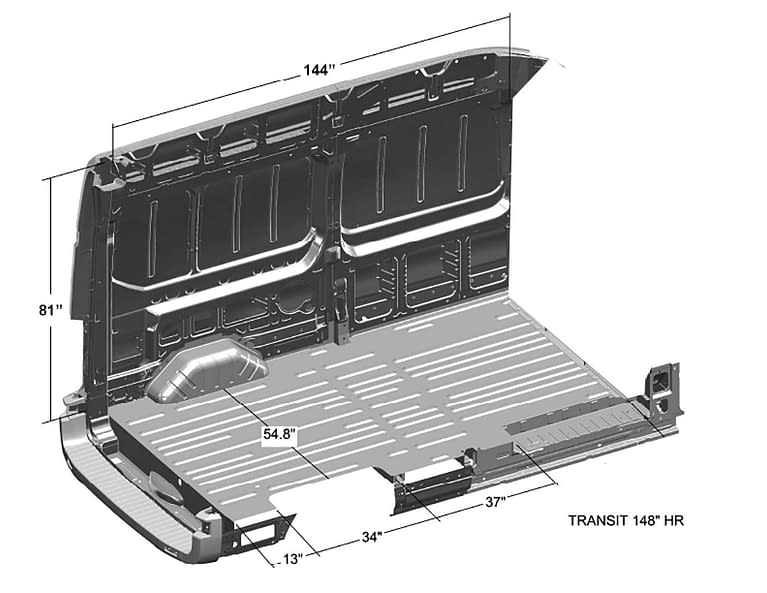 Ford-Transit-Interior-Cargo-Dimensions-(Long-Length-148WB,-High-Roof 2)